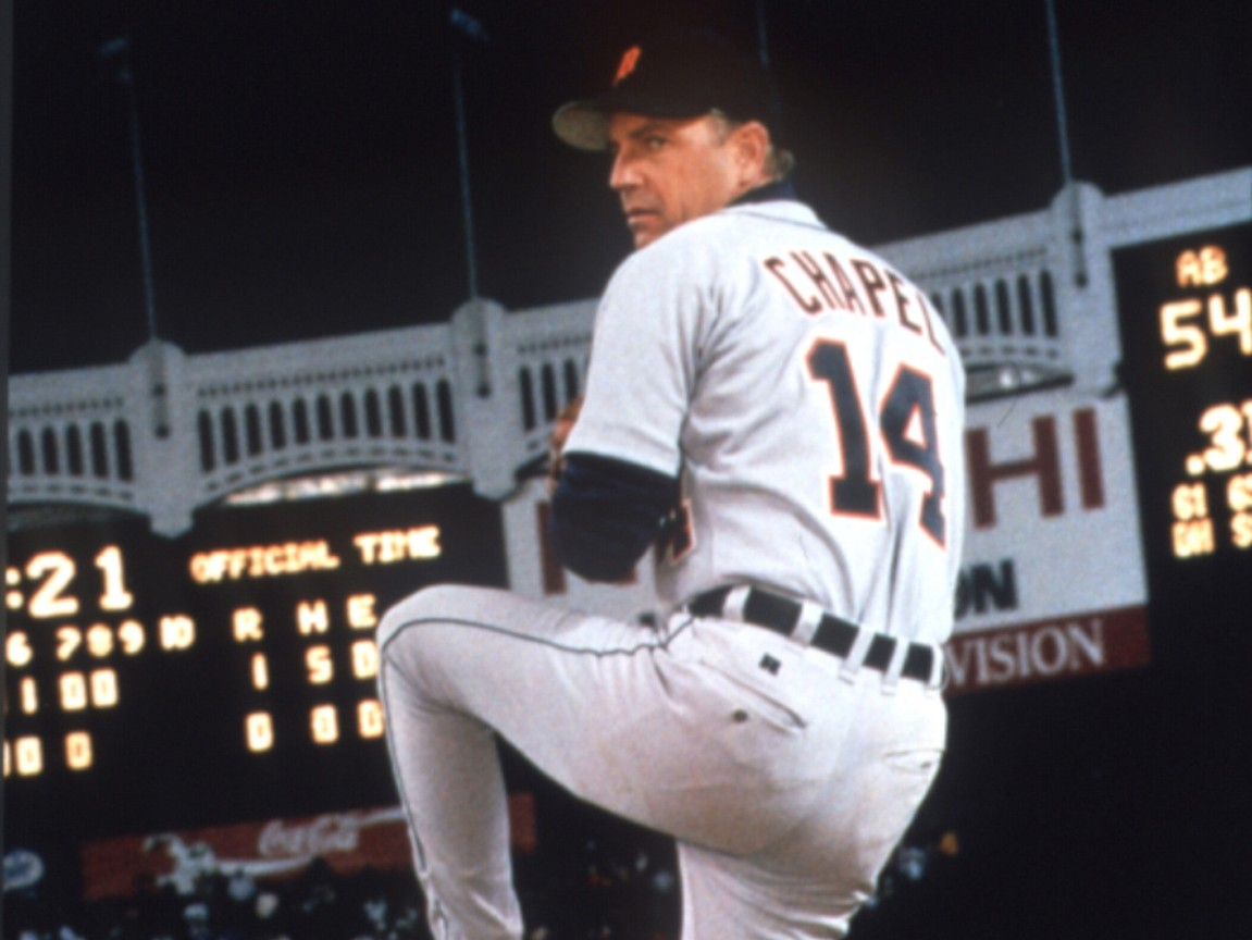 """Detroit Tigers pitcher pitiching the ball in """"For Love of the Game"""""""