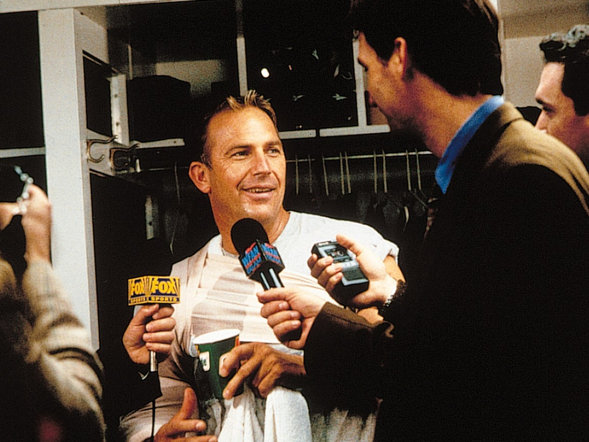 """Detroit Tigers pitcher being interviewed in """"For Love of the Game"""""""