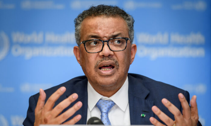 World Health Organization (WHO) Director-General Tedros Adhanom Ghebreyesus gestures during a daily press briefing on COVID-19 at the WHO headquarters in Geneva on March 2, 2020. (Fabrice Coffrini/AFP via Getty Images)