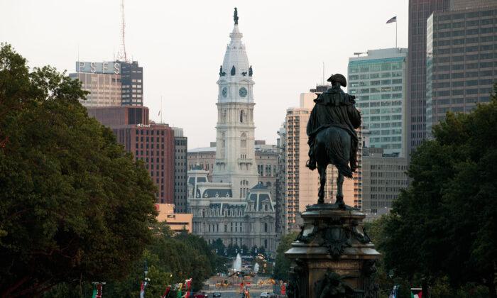 A view of Philadelphia looking toward City Hall, July 21, 2016 in Philadelphia, Penn. (Drew Angerer/Getty Images)