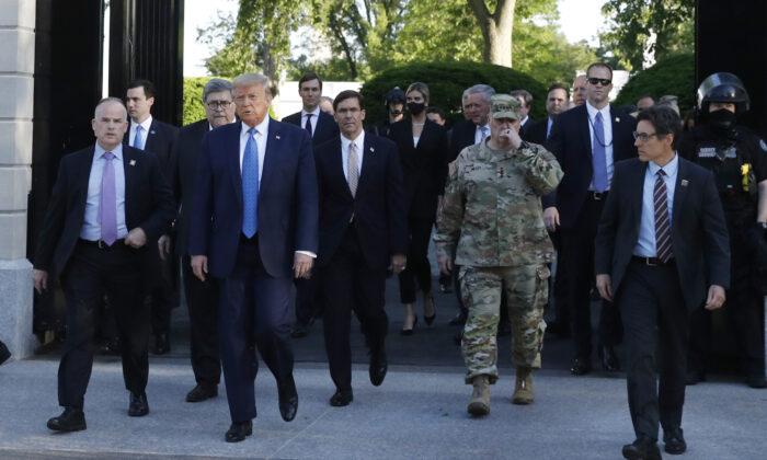 President Donald Trump walks from the gates of the White House to visit St. John's Church across Lafayette Park in Washington on June 1, 2020. (Patrick Semansky/AP Photo)