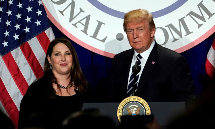 President Donald Trump is introduced by RNC Chairwoman Ronna McDaniel at the Republican National Committee's winter meeting at the Washington Hilton in Washington, on Feb. 1, 2018. (Yuri Gripas/Reuters)