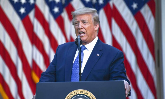 President Donald Trump delivers remarks in front of the media in the Rose Garden of the White House in Washington, on June 1, 2020. (Brendan Smialowski/AFP via Getty Images)
