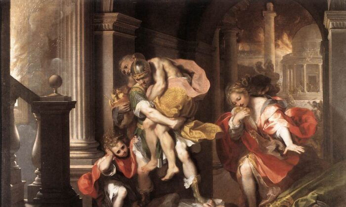 """Aeneas Flees Burning Troy,"" 1598, by Federico Barocci. Borghese Gallery, Rome, Italy. (Public Domain)"