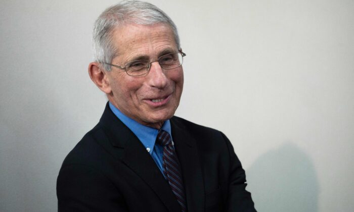Director of the National Institute of Allergy and Infectious Diseases Anthony Fauci speaks during the daily briefing on the CCP virus, in the Brady Briefing Room at the White House in Washington, on April 9, 2020. (Jim Watson/AFP/Getty Images)
