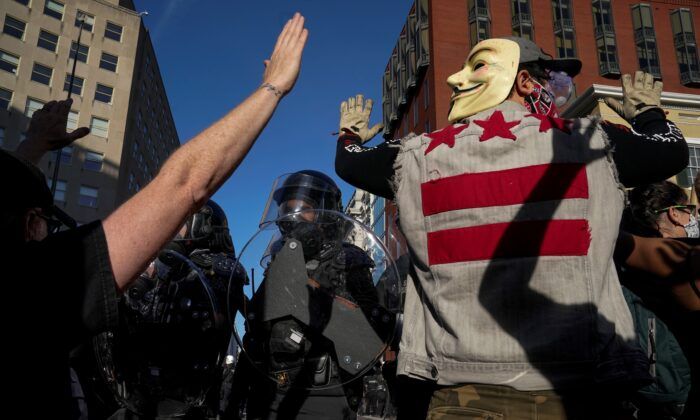 Demonstrators confront law enforcement during a protest in downtown Washington on June 1, 2020. (Drew Angerer/Getty Images)