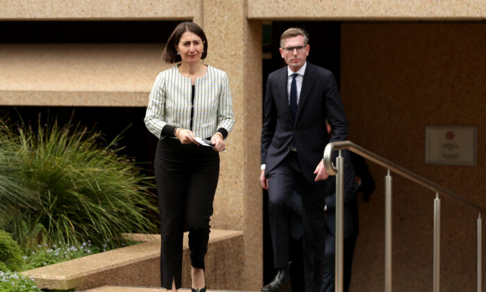 New South Wales Premier Gladys Berejiklian and Treasurer Dominic Perrottet, NSW Parliament House, Sydney, Australia, March 17, 2020. (Mark Metcalfe/Getty Images)