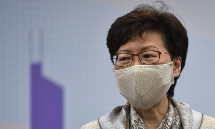 Hong Kong leader Carrie Lam speaks during a briefing at the Hong Kong SAR office during her visit in Beijing on June 3, 2020. (Nicolas Asfouri/AFP via Getty Images)