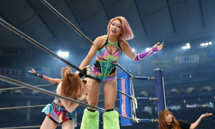 Hana Kimura competes during the New Japan Pro-Wrestling's 'Wrestle Kingdom 14' at Tokyo Dome in Tokyo, Japan, on Jan. 4, 2020. (Nikkan Sports/Reuters)