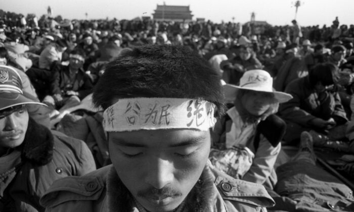 A student protester on hunger strike at Tiananmen Square, Beijing, in June 1989. (Courtesy of Liu Jian/ The Epoch Times)