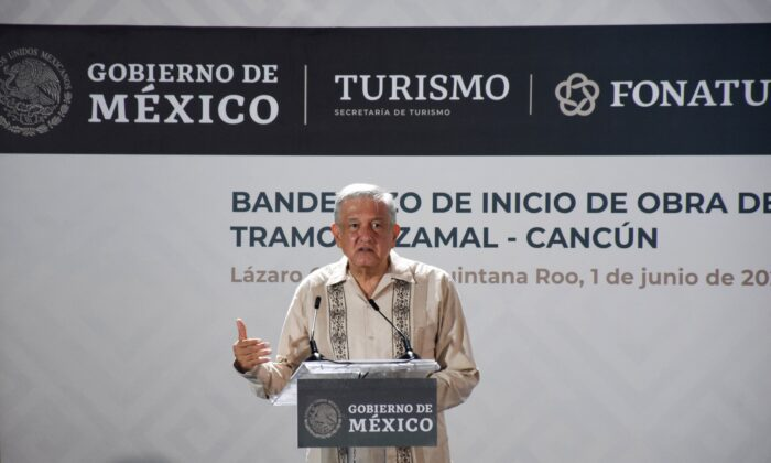 "Mexican President Andres Manuel Lopez Obrador speaks during the laying of the first stone of the ""Tren Maya"" tourist train, in El Ideal, Quintana Roo State, Mexico, on June 1, 2020. (Elizabeth Ruiz/AFP/Getty Images)"