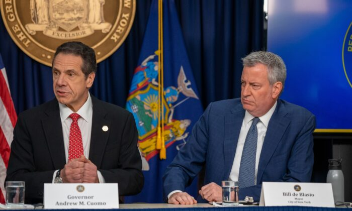 New York Gov. Andrew Cuomo and New York City Mayor Bill de Blasio appear at a press conference in New York, N.Y. on March 2, 2020. (Scott Heins/Getty Images)