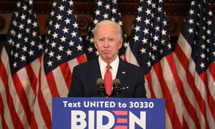 Democratic presidential candidate, and former Vice President Joe Biden speaks about the unrest across the country from Philadelphia City Hall in Philadelphia, Penn on June 2, 2020. (Jim Watson/AFP via Getty Images)