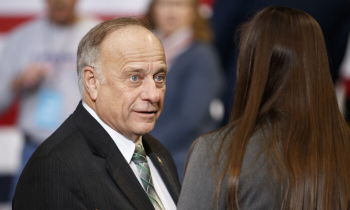 Rep. Steve King (R-IA) speaks to a member of the audience ahead of a campaign rally inside of the Knapp Center arena at Drake University on Jan. 30, 2020 in Des Moines, Iowa. (Tom Brenner/Getty Images)