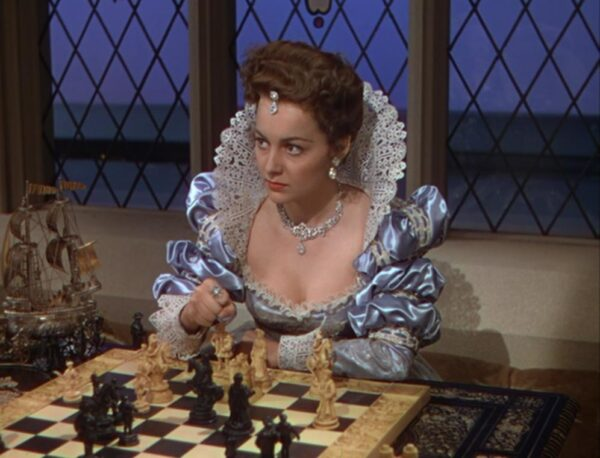 _a lady at court playing chess