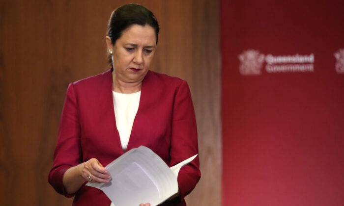 Queensland Premier Annastacia Palaszczuk attends a press conference at parliament house on March 25, 2020 in Brisbane, Australia. (Jono Searle/Getty Images)