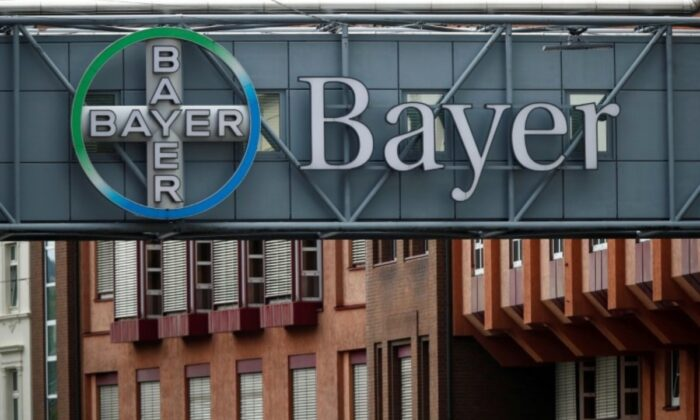 A bridge is decorated with the logo of a Bayer AG, a German pharmaceutical and chemical maker, in Wuppertal, Germany, on Aug. 9, 2019. (Wolfgang Rattay/Reuter, File Photo)