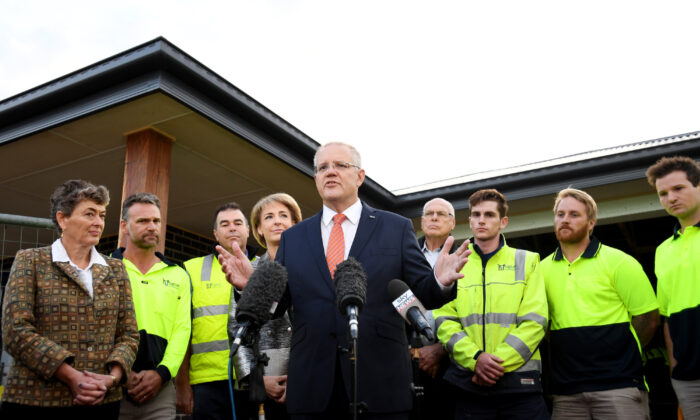 Prime Minister Scott Morrison during a press conference at a residential building site in Googong on April 04, 2019 in Canberra, Australia. (Tracey Nearmy/Getty Images)