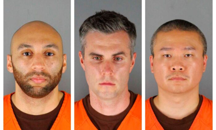 This combination of photos provided by the Hennepin County Sheriff's Office in Minnesota on Wed., June 3, 2020, shows J. Alexander Kueng, from left, Thomas Lane, and Tou Thao. They have been charged with aiding and abetting Derek Chauvin, who is charged with second-degree murder of George Floyd, a black man who died after being restrained by the Minneapolis police officers on May 25, 2020. (Hennepin County Sheriff's Office/AP)