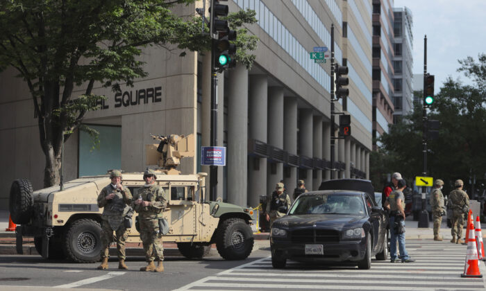 Members of the Indiana National Guard holds a position as protests continue in Washington against police brutality and the death of George Floyd on June 3, 2020. (Alex Wong/Getty Images)