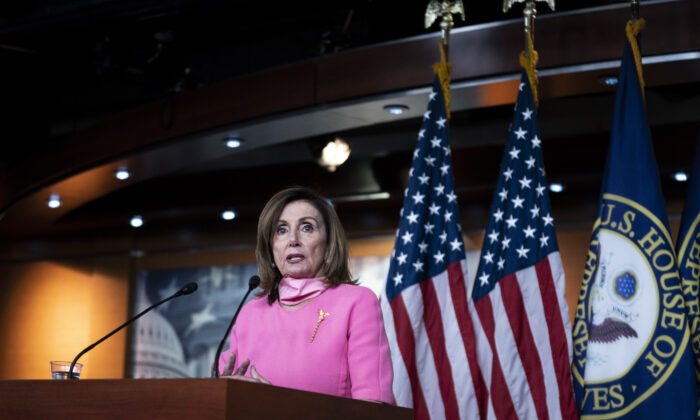 Speaker of the House Rep. Nancy Pelosi (D-CA) speaks during a weekly news conference in Washington on June 4, 2020.  (Sarah Silbiger/Getty Images)