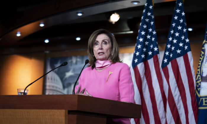 U.S. Speaker of the House Rep. Nancy Pelosi (D-CA) speaks during a weekly news conference in Washington on June 4, 2020. (Sarah Silbiger/Getty Images)