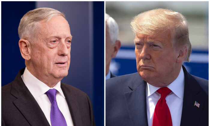 (L) Jim Mattis speaks during a press briefing on Feb. 7, 2018. (Samira Bouaou/The Epoch Times) (R) President Donald Trump at the Kennedy Space Center in Cape Canaveral, Fla., on May 30, 2020. (Saul Martinez/Getty Images)