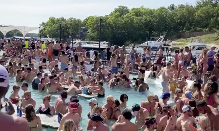 Revelers celebrate Memorial Day weekend at Osage Beach at the Lake of the Ozarks, Mo., on May 23, 2020. (Lawler50/Twitter via Reuters)