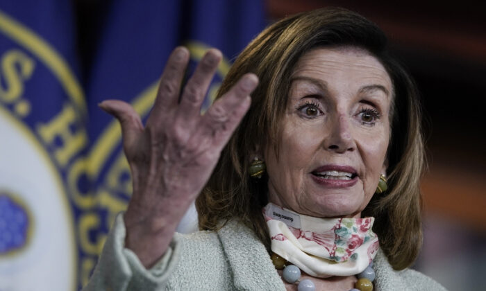 House Speaker Nancy Pelosi (D-Calif.) speaks at a press conference in Washington on May 27, 2020. (Drew Angerer/Getty Images)