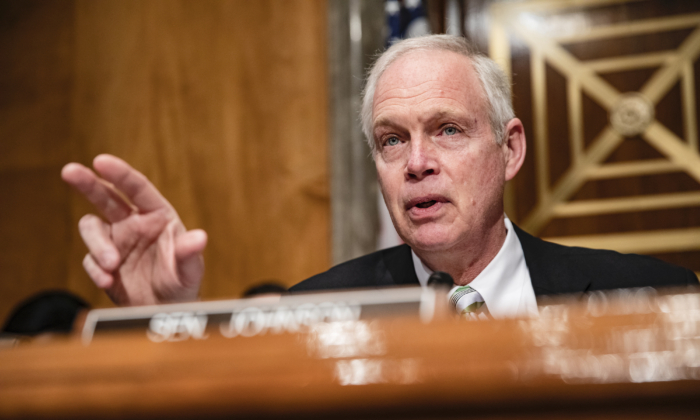 Sen. Ron Johnson (R-Wis.) speaks at the start of a Senate Homeland Security Committee hearing on the governments response to the CCP virus outbreak in Washington on March 5, 2020. (Samuel Corum/Getty Images)