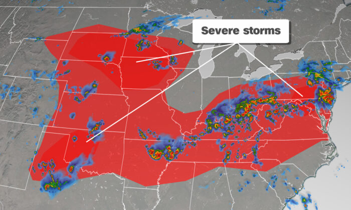Severe storms are forecast on June 4, 2020. (Courtesy of CNN Weather)