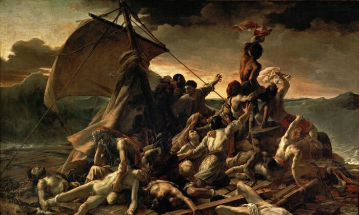 """""""The Raft of Medusa"""" in 1818-1819 by Théodore Géricualt. Oil on Canvas, 16.1 feet by 23.4 feet. Louvre Museum, Paris. (Public Domain)"""