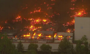 Fire Tears Through Amazon Distribution Center in Redlands, California