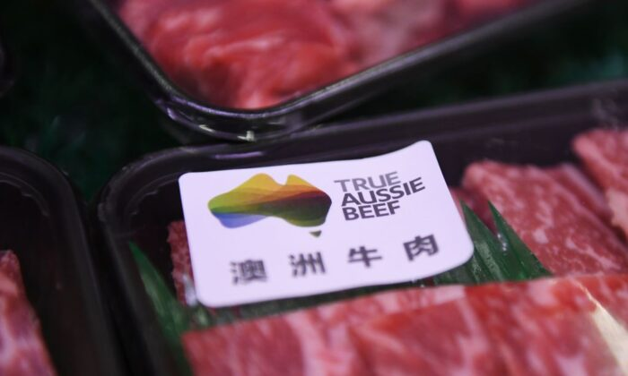 Australian beef is seen at a supermarket in Beijing on May 12, 2020. - China suspended imports from four major Australian beef suppliers on May 12, just weeks after Beijing's ambassador warned of a consumer boycott in retaliation for Canberra's push to probe the origins of the coronavirus. (Greg Baker/AFP via Getty Images)