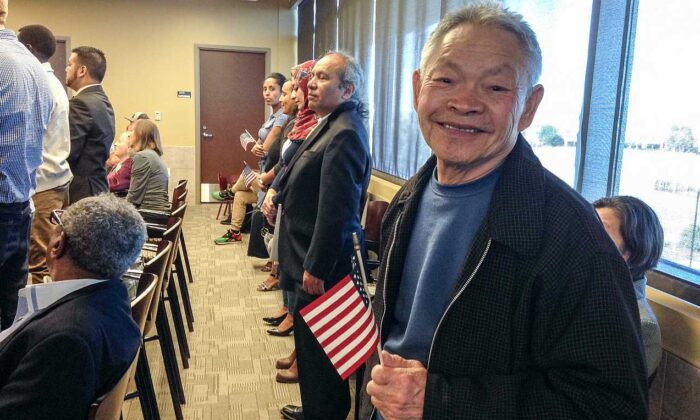 Lily Tang Williams' father becoming a U.S. citizen. (Courtesy Lily Tang Williams)