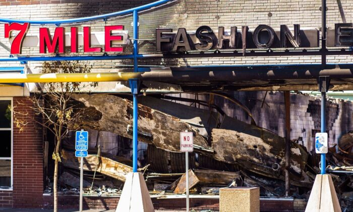 The charred wreckage of a beauty supply store destroyed during last week's rioting, in Minneapolis, Minn., on June 3, 2020. (Kerem Yucel/AFP/Getty Images)