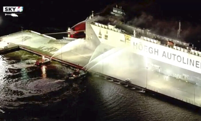 In this image made from aerial video firefighters spray a cargo ship with water, in Jacksonville, Fla,. on June 4, 2020.   (WJXT via AP)