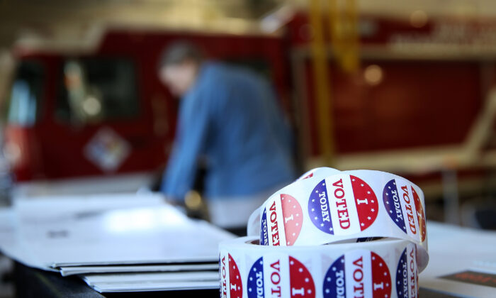 "A roll of ""I Voted"" stickers on a table inside a polling station at a Ross Valley fire station in San Anselmo, Calif., on June 5, 2018. (Justin Sullivan/Getty Images)"