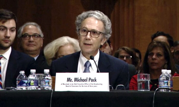 Michael Pack speaks at his nomination hearing at the Dirksen Senate Office Building at the U.S. Capitol in Washington, on Sept. 19, 2019. (Screenshot of hearing video/U.S. Senate Committee on Foreign Relations)