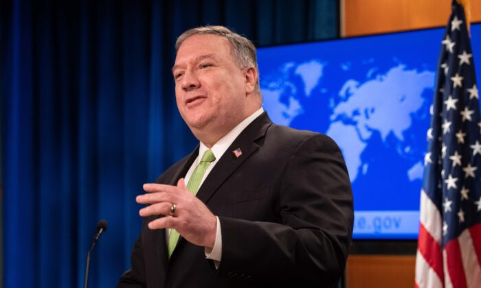 Secretary of State Mike Pompeo speaks the press conference at the State Department in Washington on May 20, 2020. (Nicholas Kamm/AFP via Getty Images)
