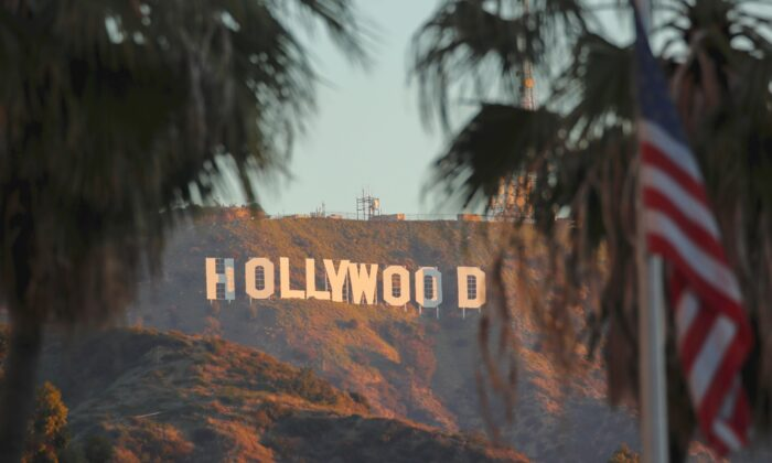 Morning sun rise on the Hollywood sign in Los Angeles, Calif., on Feb. 6, 2020. (Mike Blake/Reuters)