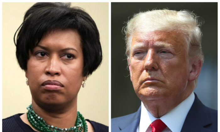 (L) Washington Mayor Muriel Bowser at a news conference in 2018. (Alex Wong/Getty Images) (R) President Donald Trump at a news conference at the White House in Washington on June 5, 2020. (Chip Somodevilla/Getty Images)