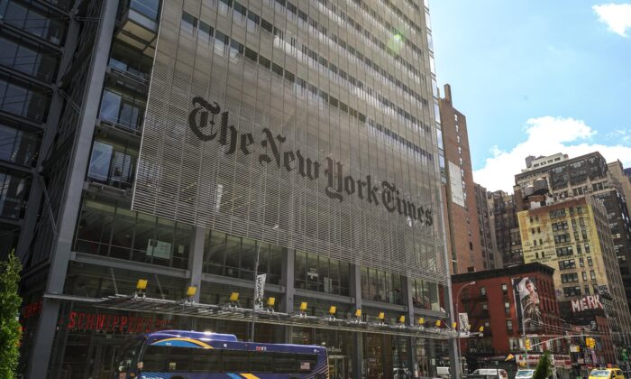 The New York Times building on April 15, 2020. (Chung I Ho/The Epoch Times)