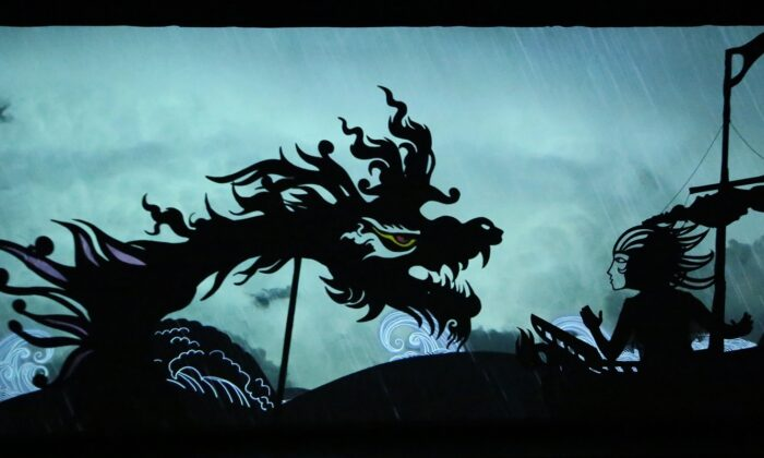 """A scene from """"Feathers of the Fire: The Movie"""" with Zaul, the hero, and the sea monster. (Fictionville Studio)"""