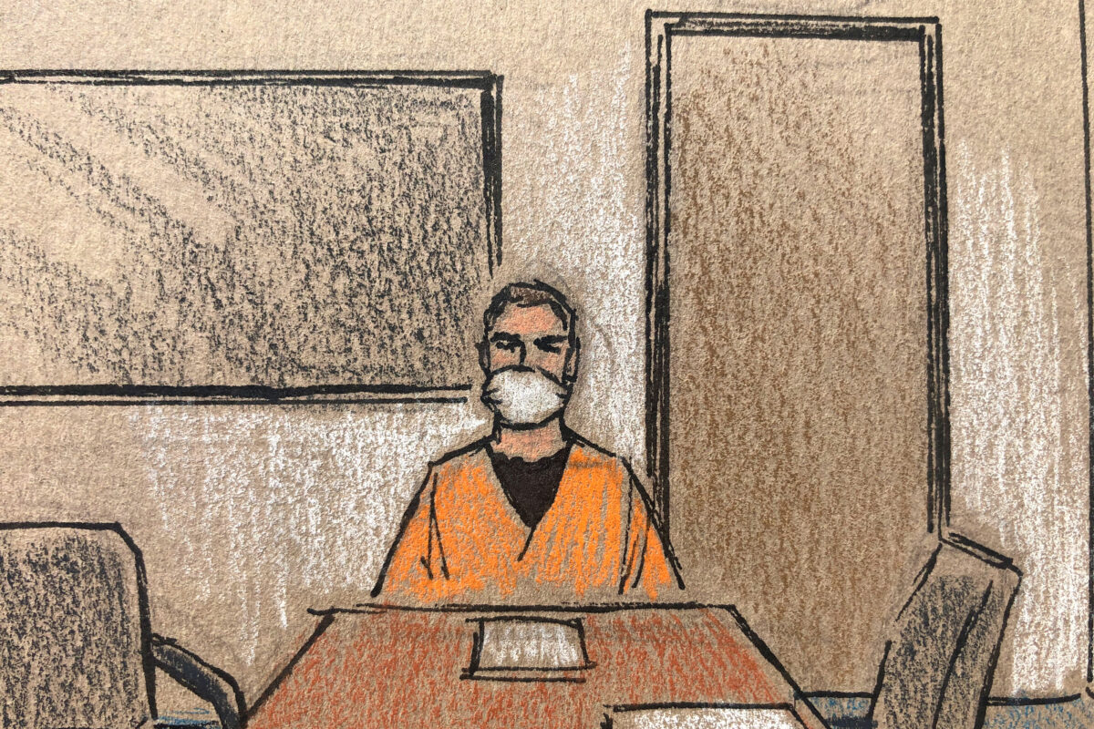 Former Minneapolis police officer Derek Chauvin is seen in an artist's sketch attends a court hearing via video link