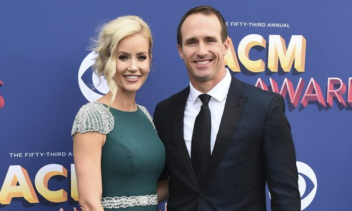 Brittany and Drew Brees arrive at the 53rd annual Academy of Country Music Awards at the MGM Grand Garden Arena in Las Vegas, on April 15, 2018. (Jordan Strauss/Invision/AP)