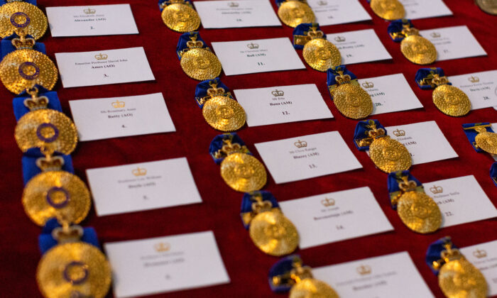Queen's Birthday Honour medals laid out prior to the commencement of the Queen's Birthday Investiture Ceremony at Government House in Melbourne, Australia on Sept 17, 2019. (Asanka Ratnayake/Getty Images)
