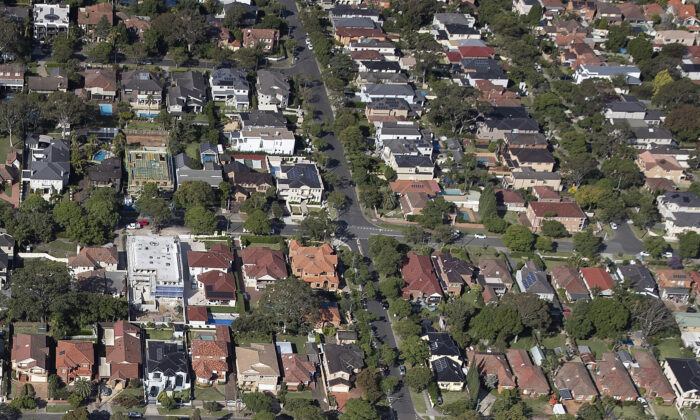 An aerial view of suburban houses in Sydney, Australia, on April 22, 2020. (Ryan Pierse/Getty Images)