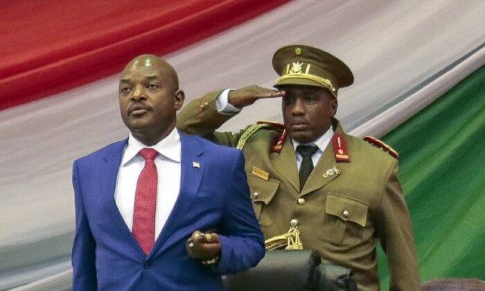 Burundi's President Pierre Nkurunziza is sworn in for a third term at a ceremony in the parliament in Bujumbura, Burundi, on Aug. 20, 2015. (Gildas Ngingo/AP Photo)