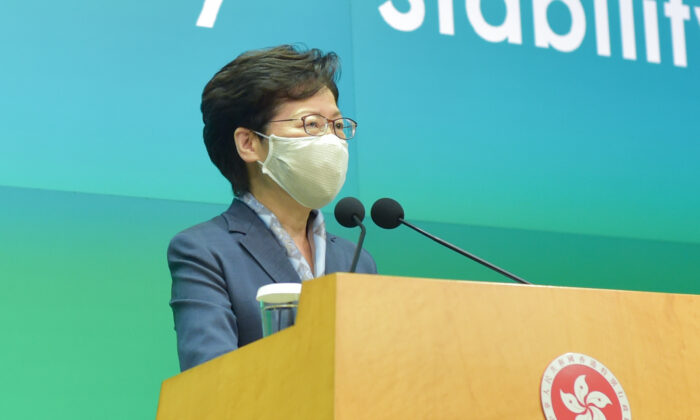 Hong Kong leader Carrie Lam speaks at a press conference in Hong Kong on June 9, 2020. (Bill Cox/The Epoch Times)